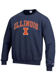 Illinois Fighting Illini Champion Arch Mascot Crew Sweatshirt - Navy Blue