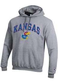 Kansas Jayhawks Champion Arch Mascot Hooded Sweatshirt - Grey