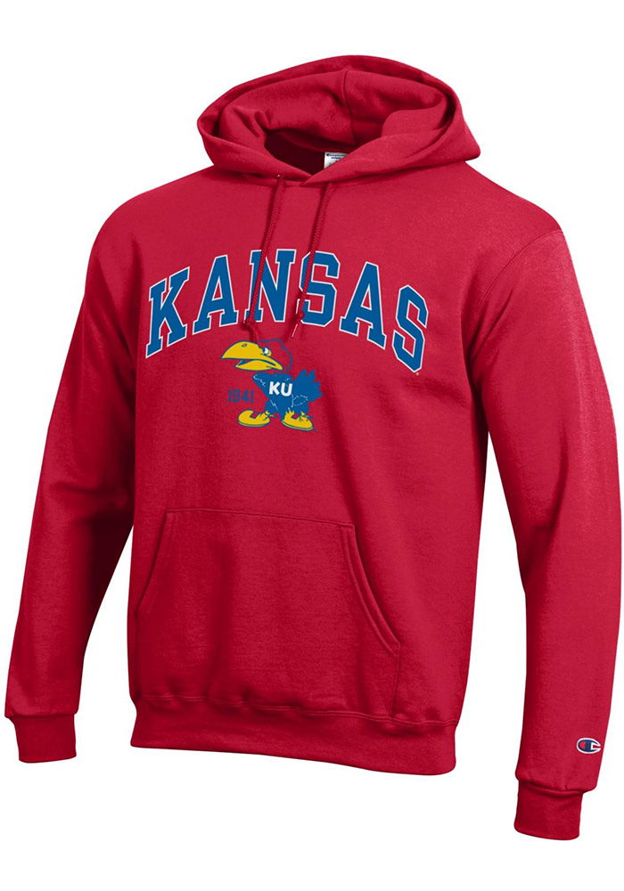 Champion Kansas Jayhawks Mens Red Arch Mascot Long Sleeve Hoodie - Image 1