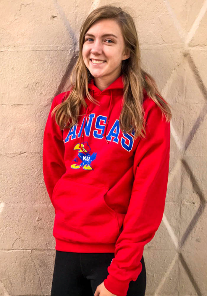 Champion Kansas Jayhawks Mens Red Arch Mascot Long Sleeve Hoodie - Image 2