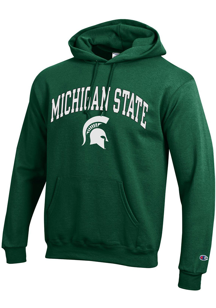 Champion Michigan State Spartans Mens Green Arch Mascot Long Sleeve Hoodie - Image 1