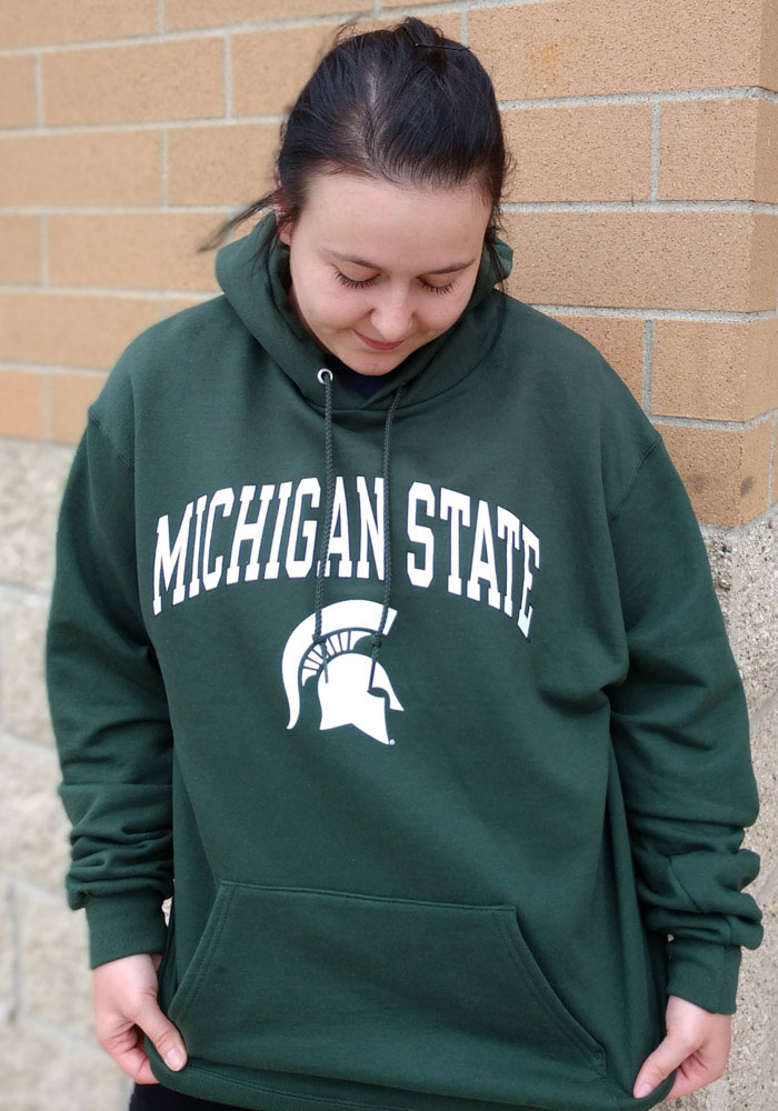 Champion Michigan State Spartans Mens Green Arch Mascot Long Sleeve Hoodie - Image 2