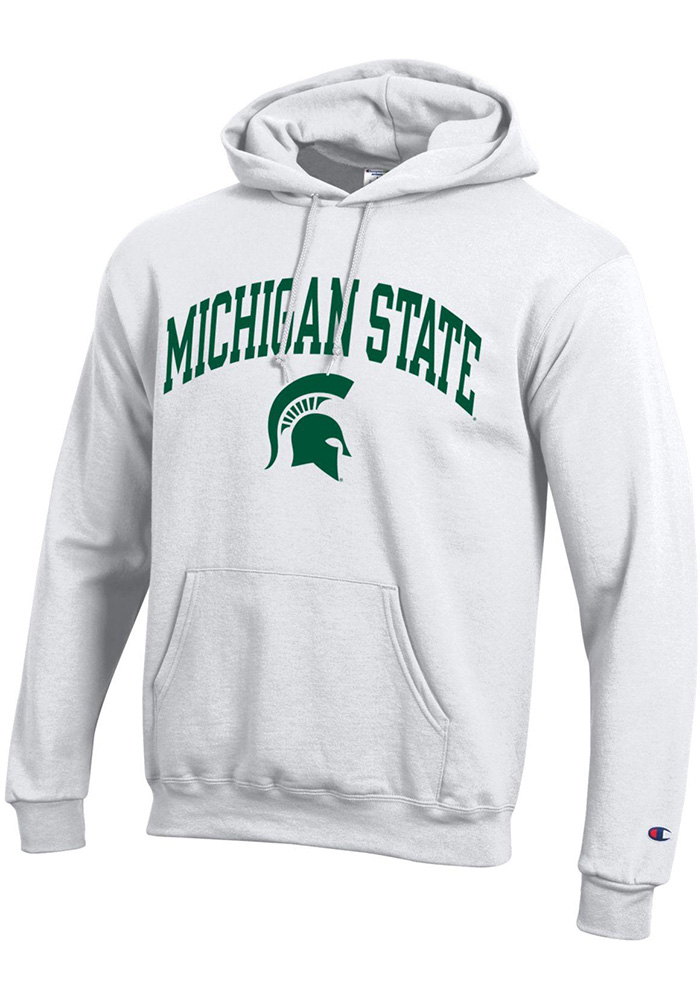 Champion Michigan State Spartans Mens White Arch Mascot Long Sleeve Hoodie - Image 1