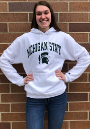 Champion Michigan State Spartans Mens White Arch Mascot Long Sleeve Hoodie