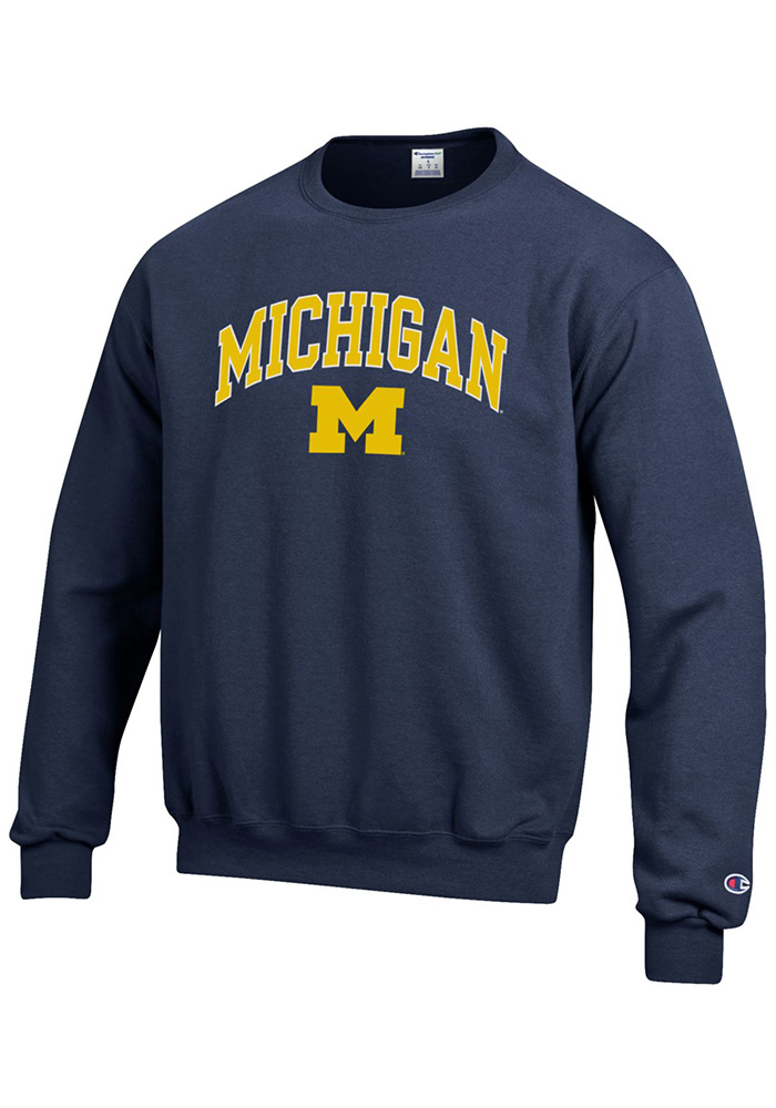 Champion Michigan Wolverines Mens Navy Blue Arch Mascot Long Sleeve Crew Sweatshirt - Image 1