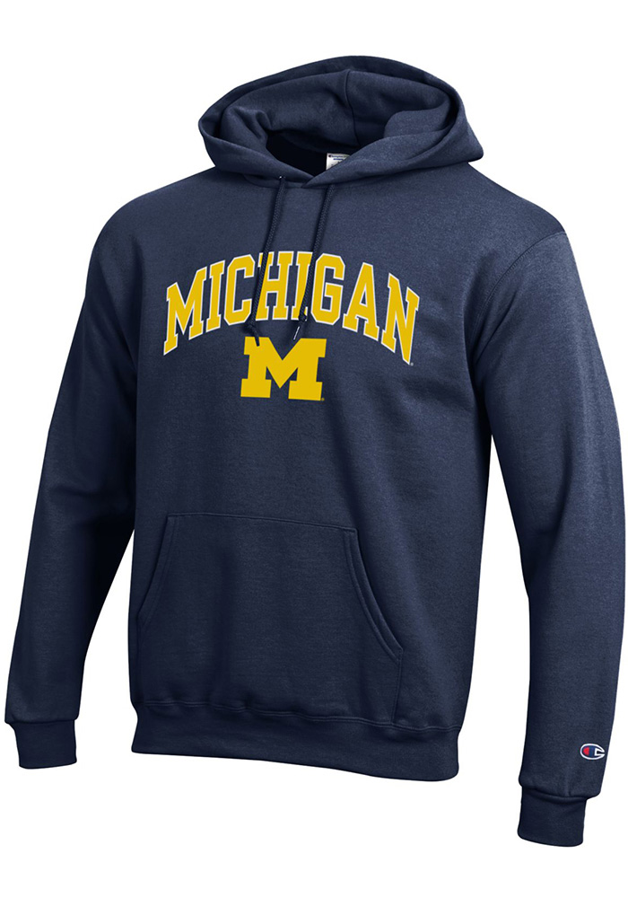Champion Michigan Wolverines Mens Navy Blue Arch Mascot Long Sleeve Hoodie - Image 1
