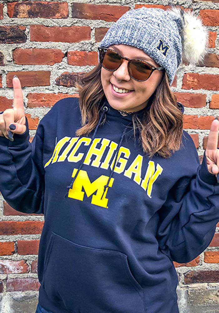 Champion Michigan Wolverines Mens Navy Blue Arch Mascot Long Sleeve Hoodie - Image 2