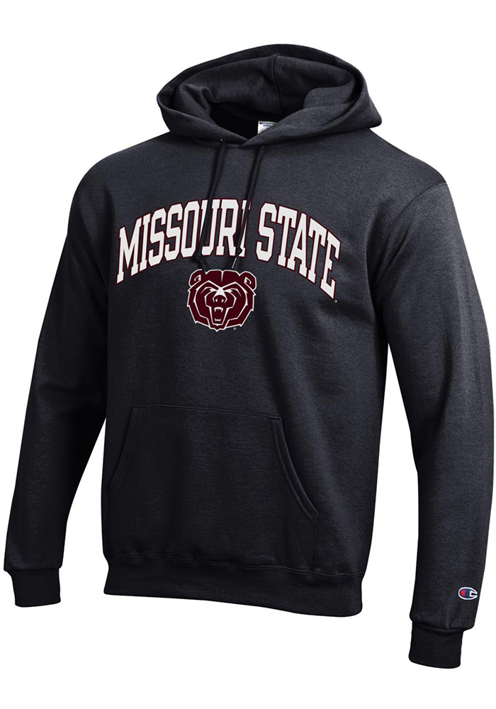 Champion Missouri State Bears Mens Black Arch Mascot Long Sleeve Hoodie - Image 1