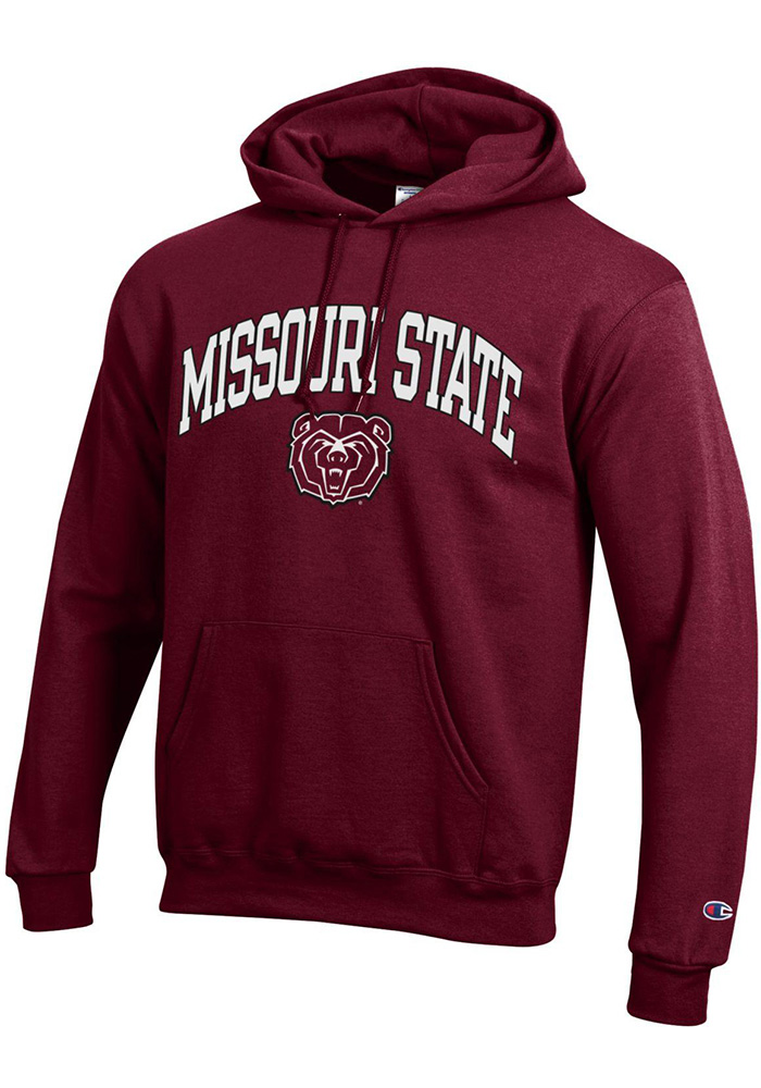 Champion Missouri State Bears Mens Maroon Arch Mascot Long Sleeve Hoodie - Image 1