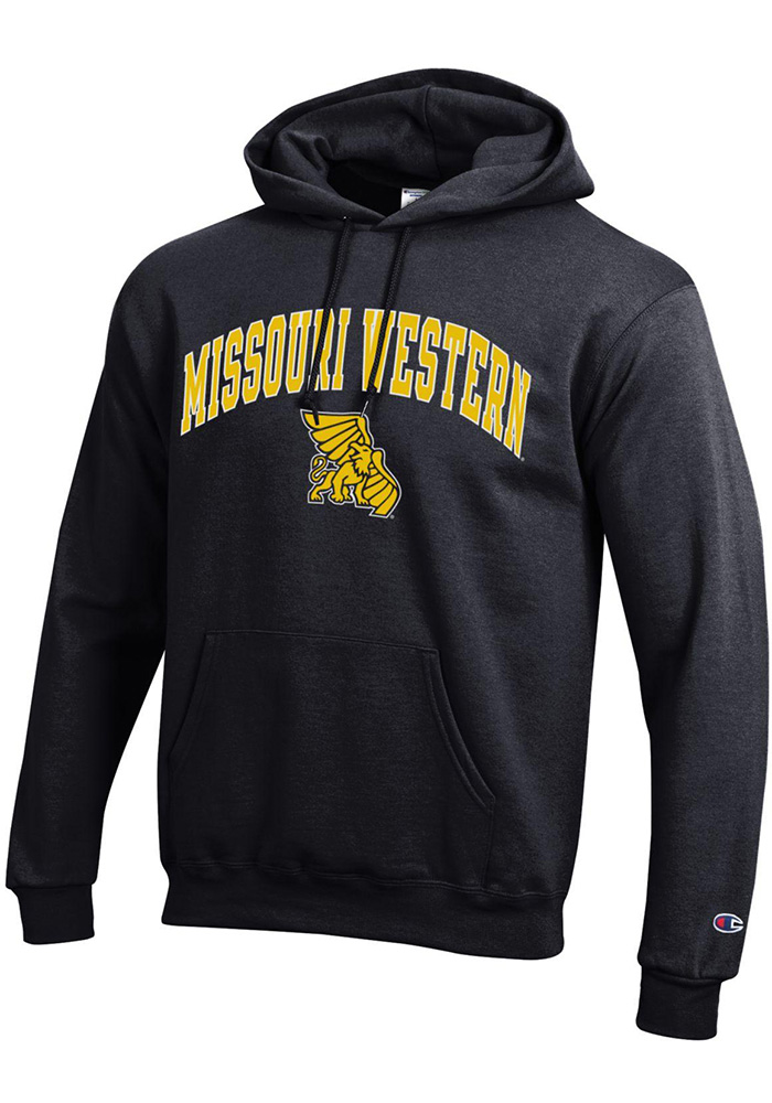 Champion Missouri Western Griffons Mens Black Arch Mascot Long Sleeve Hoodie - Image 1