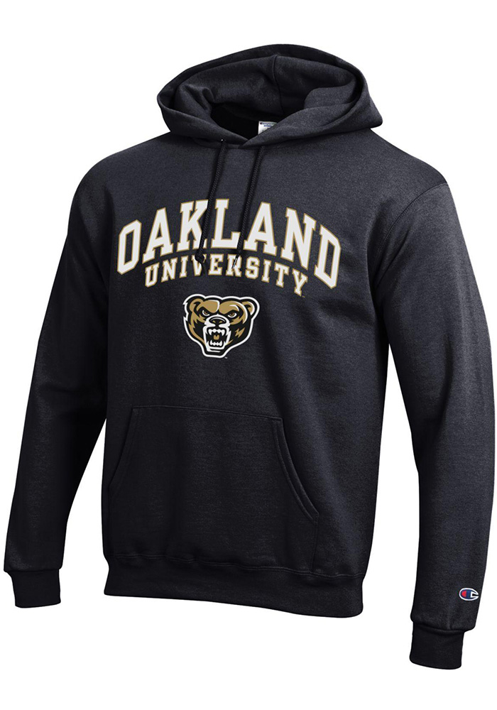 Champion Oakland University Golden Grizzlies Mens Black Arch Mascot Long Sleeve Hoodie - Image 1