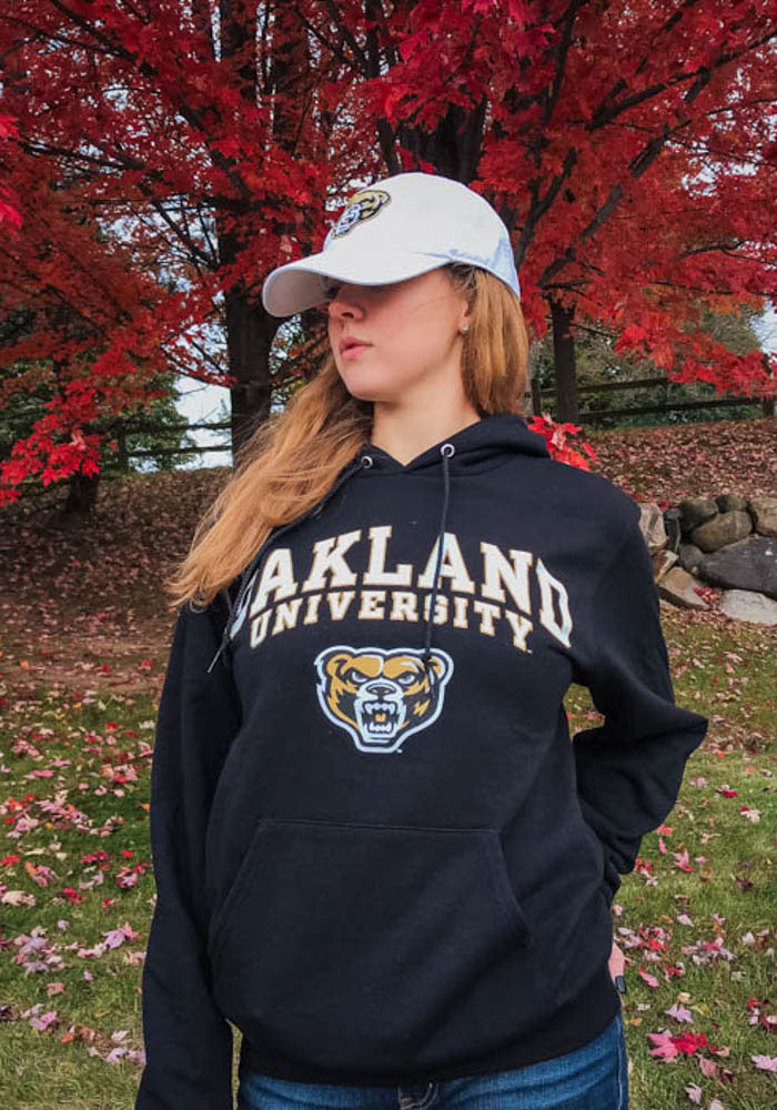 Champion Oakland University Golden Grizzlies Mens Black Arch Mascot Long Sleeve Hoodie - Image 2