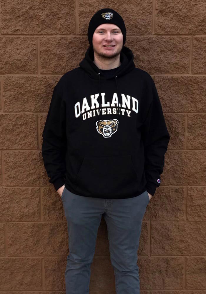 Champion Oakland University Golden Grizzlies Mens Black Arch Mascot Long Sleeve Hoodie - Image 3