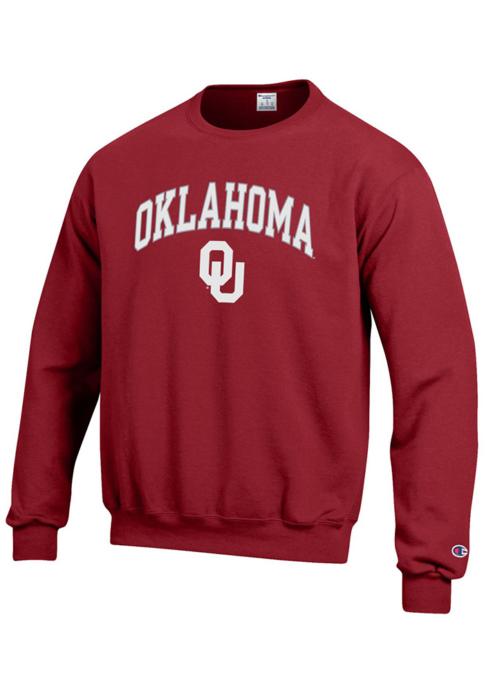 Champion Oklahoma Sooners Mens Crimson Arch Mascot Long Sleeve Crew Sweatshirt - Image 1