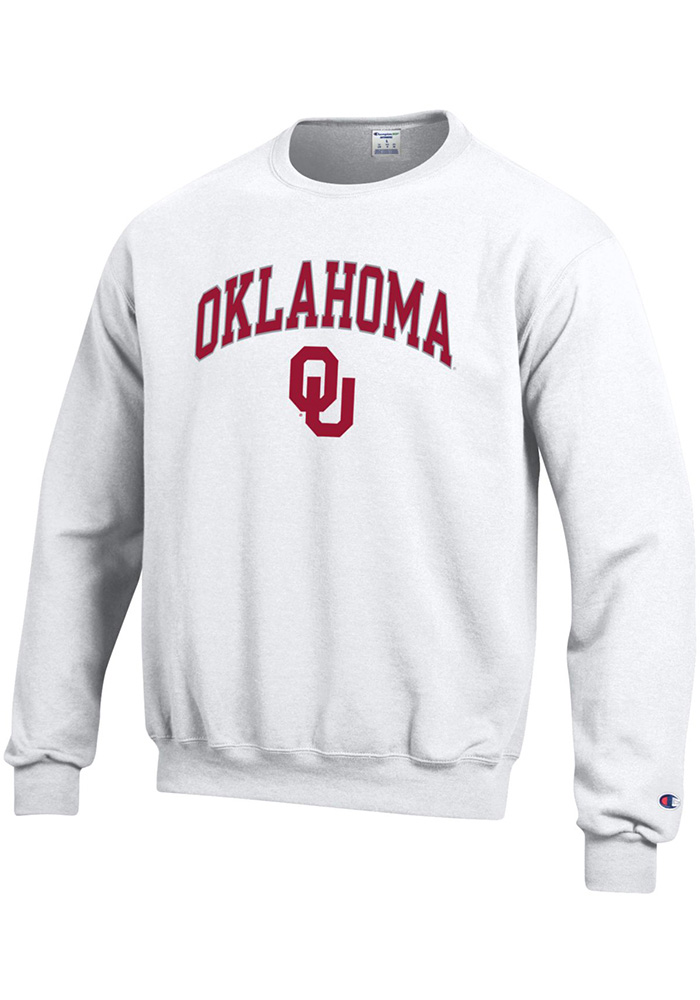 Champion Oklahoma Sooners Mens White Arch Mascot Long Sleeve Crew Sweatshirt - Image 1