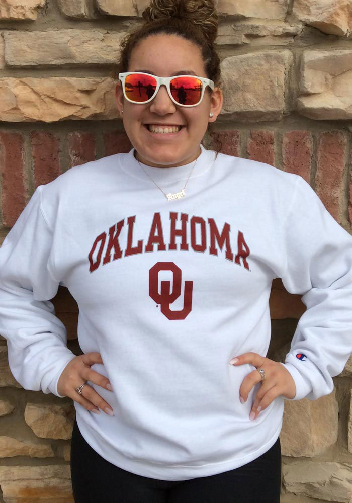 Champion Oklahoma Sooners Mens White Arch Mascot Long Sleeve Crew Sweatshirt - Image 2
