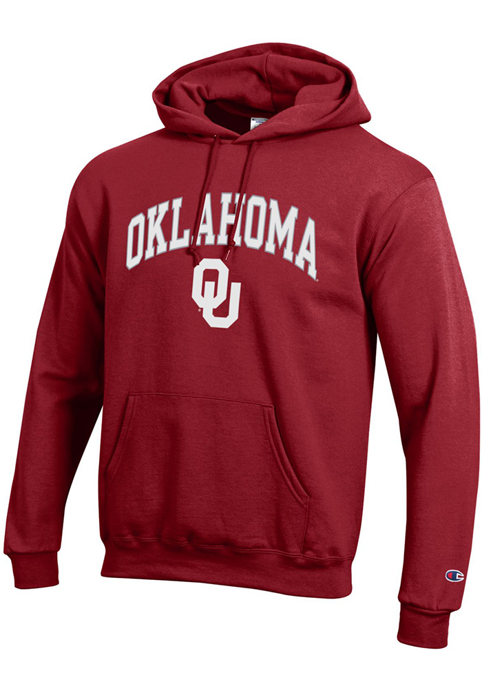 Champion Oklahoma Sooners Mens Crimson Arch Mascot Long Sleeve Hoodie - Image 1