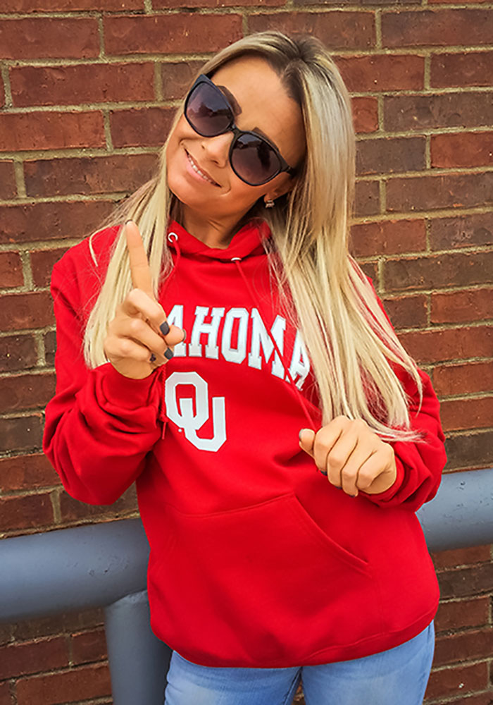 Champion Oklahoma Sooners Mens Crimson Arch Mascot Long Sleeve Hoodie - Image 3
