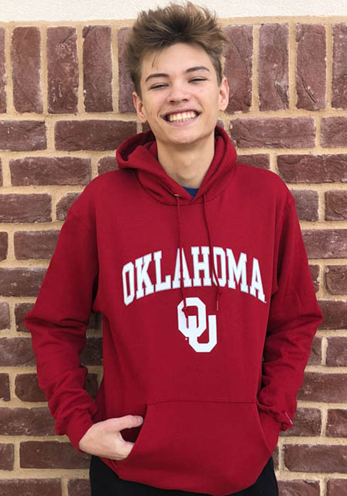 Champion Oklahoma Sooners Mens Crimson Arch Mascot Long Sleeve Hoodie - Image 4