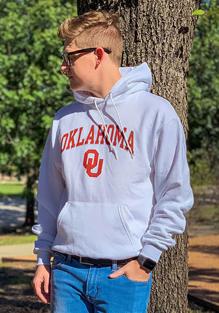 Champion Oklahoma Sooners Mens White Arch Mascot Long Sleeve Hoodie - Image 5