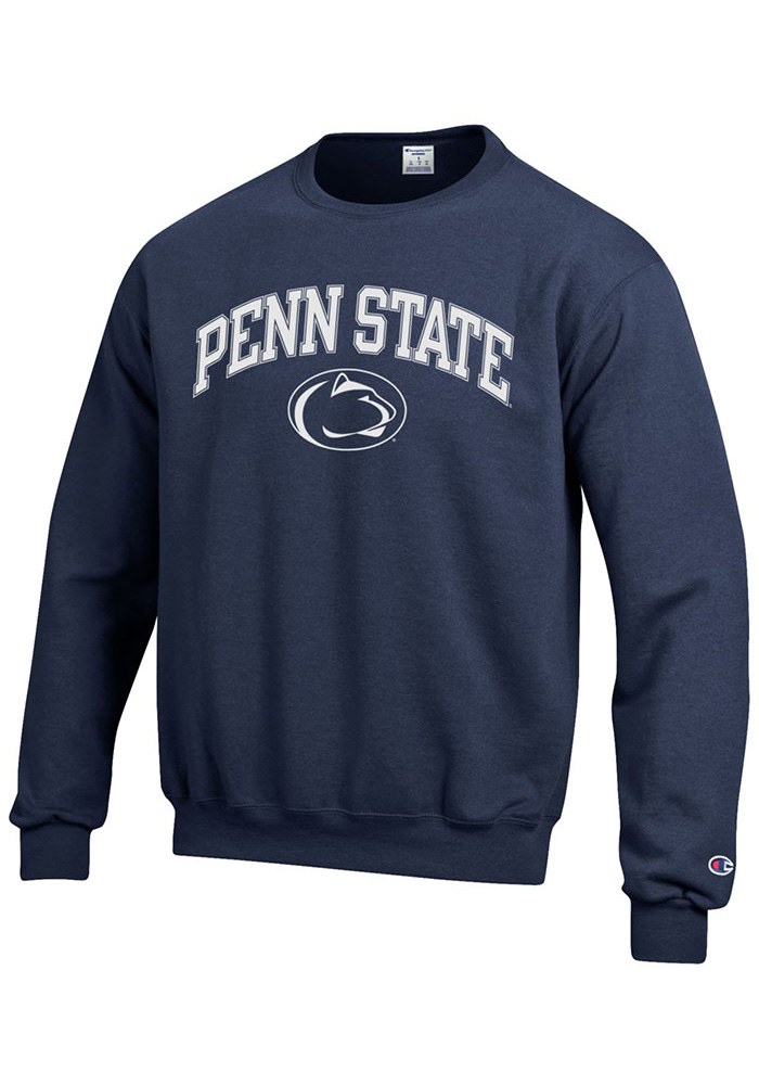 Champion Penn State Nittany Lions Mens Navy Blue Arch Mascot Long Sleeve Crew Sweatshirt - Image 1