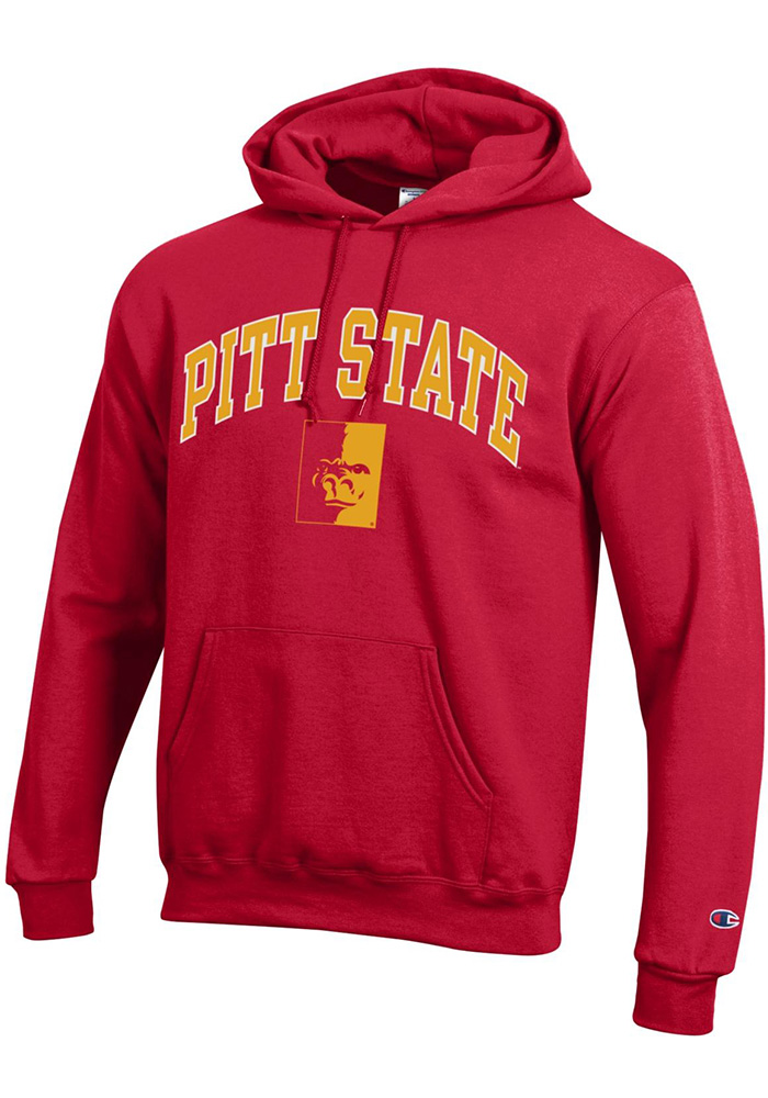 Champion Pitt State Gorillas Mens Red Arch Mascot Long Sleeve Hoodie - Image 1