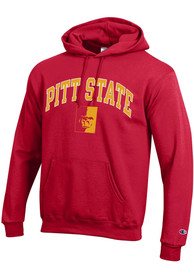 Pitt State Gorillas Champion Arch Mascot Hooded Sweatshirt - Red