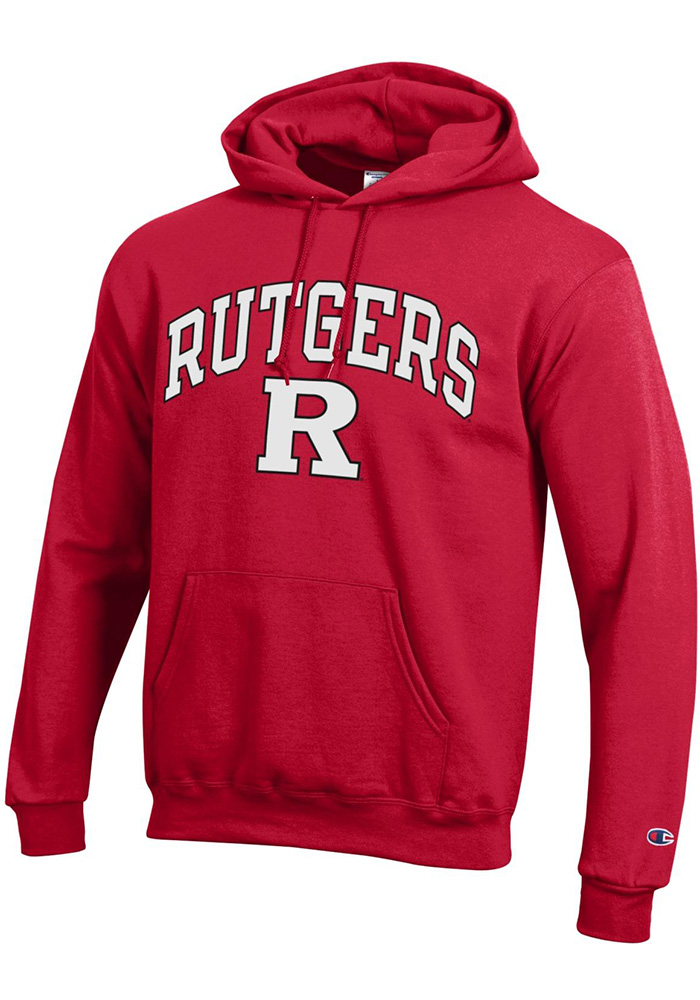 Champion Rutgers Scarlet Knights Mens Red Arch Mascot Long Sleeve Hoodie - Image 1