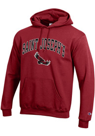 Saint Josephs Hawks Champion Arch Mascot Hooded Sweatshirt - Cardinal