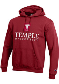 Temple Owls Champion Arch Mascot Hooded Sweatshirt - Cardinal