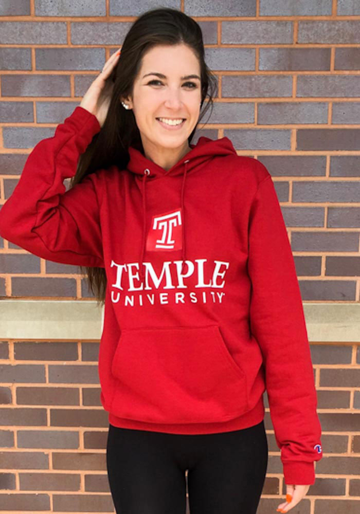 Champion Temple Owls Mens Cardinal Arch Mascot Long Sleeve Hoodie - Image 2
