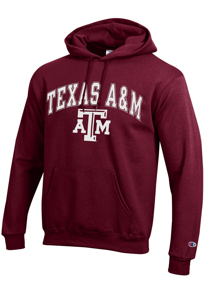 Champion Texas A&M Aggies Mens Maroon Arch Mascot Long Sleeve Hoodie - Image 1