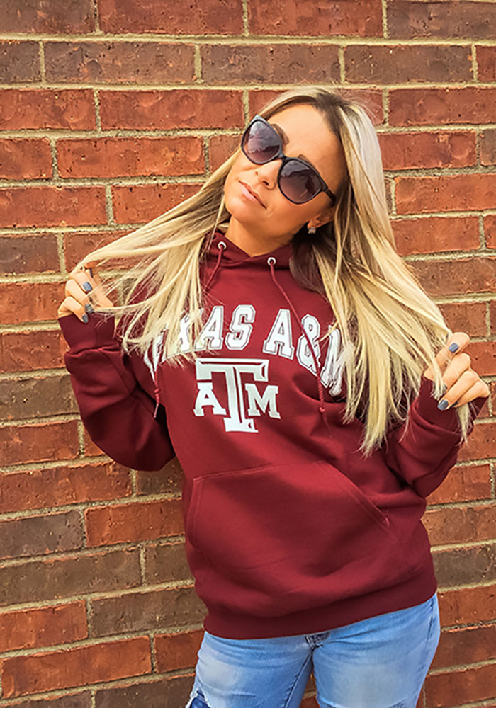 Champion Texas A&M Aggies Mens Maroon Arch Mascot Long Sleeve Hoodie - Image 2