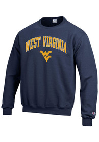 West Virginia Mountaineers Champion Arch Mascot Crew Sweatshirt - Navy Blue