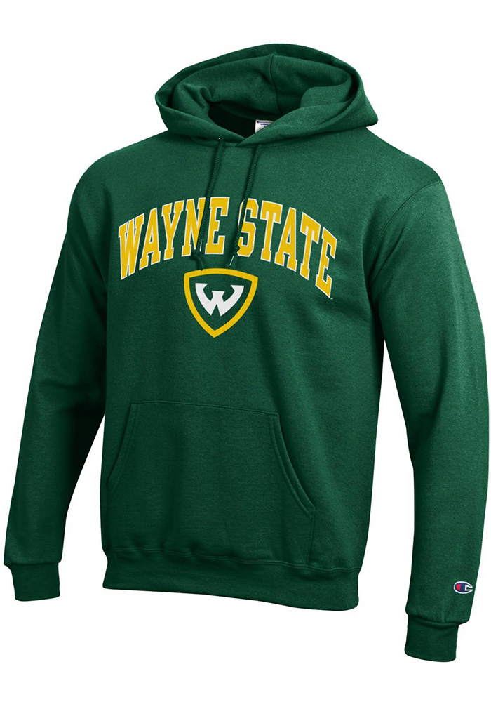 Champion Wayne State Warriors Mens Green Arch Mascot Long Sleeve Hoodie - Image 1