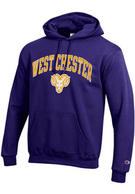 West Chester Golden Rams Champion Arch Mascot Hooded Sweatshirt - Purple