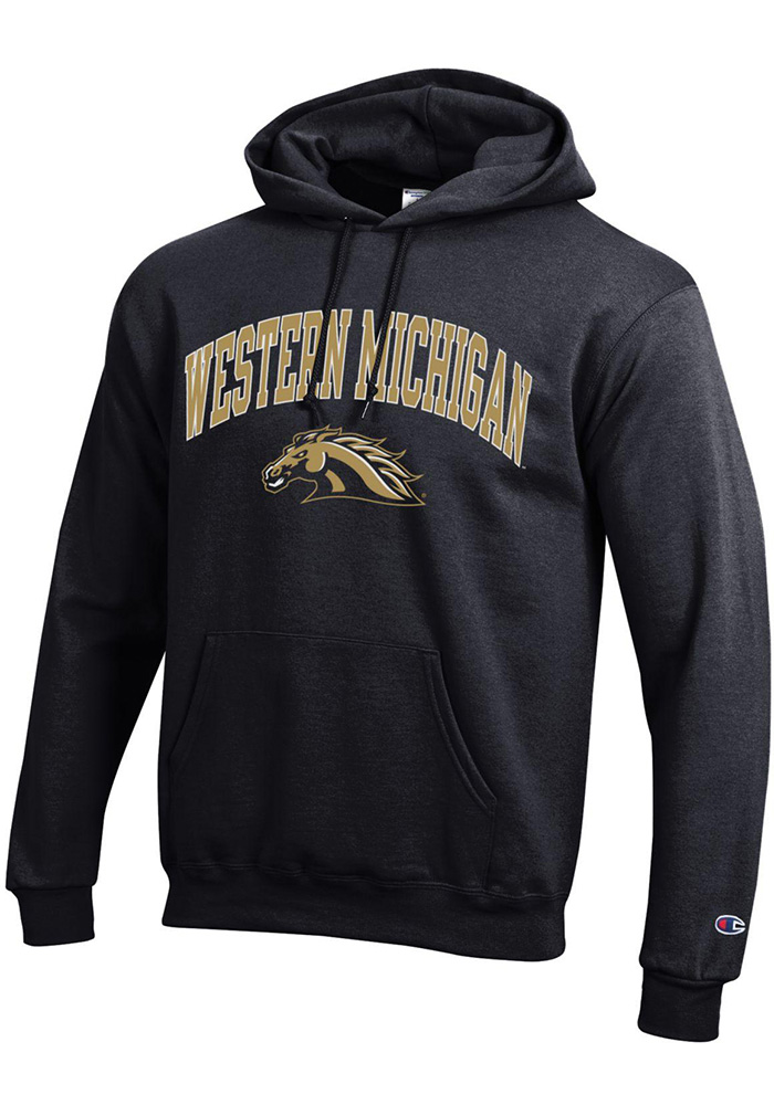 Champion Western Michigan Broncos Mens Black Arch Mascot Long Sleeve Hoodie - Image 1