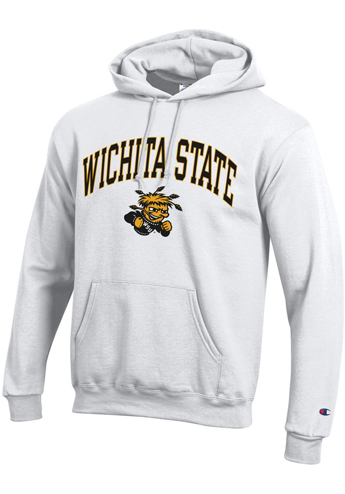 Champion Wichita State Shockers Mens White Arch Mascot Long Sleeve Hoodie - Image 1