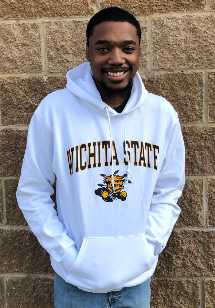 Champion Wichita State Shockers Mens White Arch Mascot Long Sleeve Hoodie - Image 2