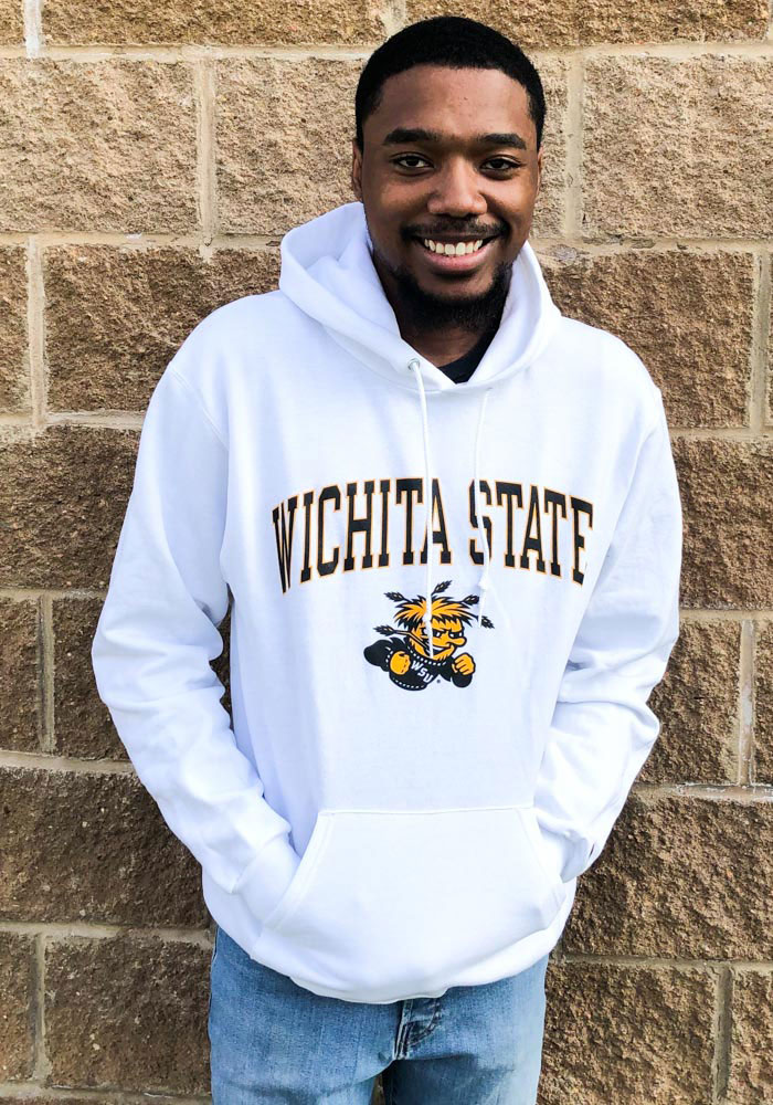 Champion Wichita State Shockers Mens White Arch Mascot Long Sleeve Hoodie - Image 3