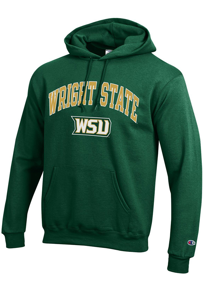 Champion Wright State Raiders Mens Green Arch Mascot Long Sleeve Hoodie - Image 1
