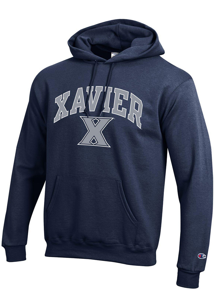 Champion Xavier Musketeers Mens Navy Blue Arch Mascot Long Sleeve Hoodie - Image 1