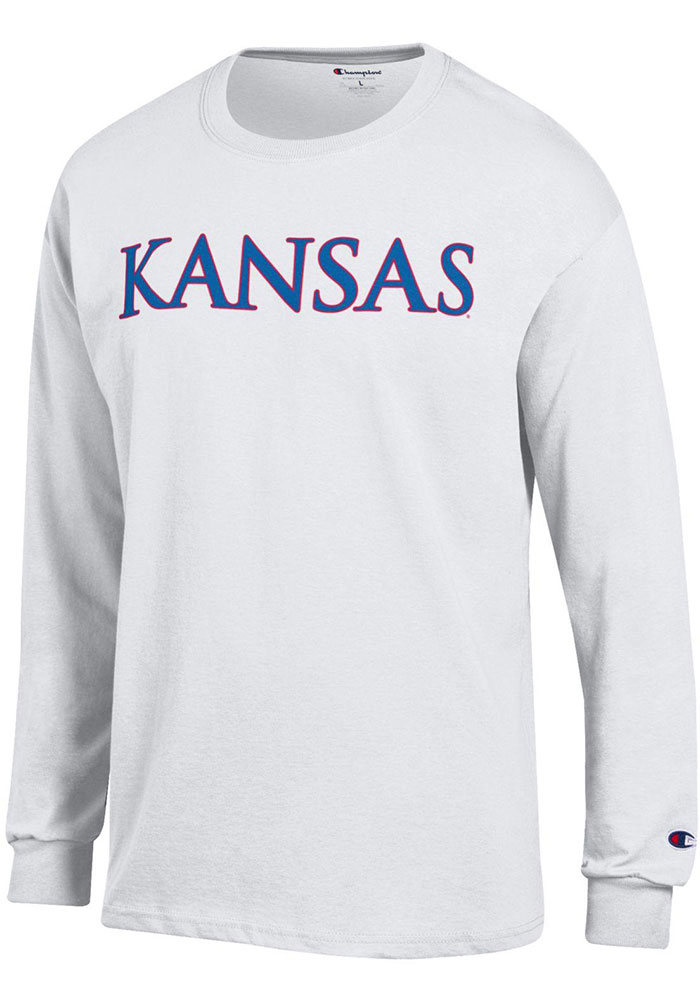 Champion Kansas Jayhawks White Rally Loud Long Sleeve T Shirt - Image 1