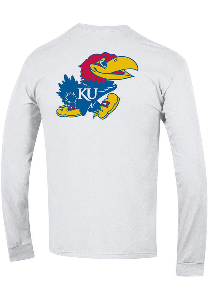 Champion Kansas Jayhawks White Rally Loud Long Sleeve T Shirt - Image 2