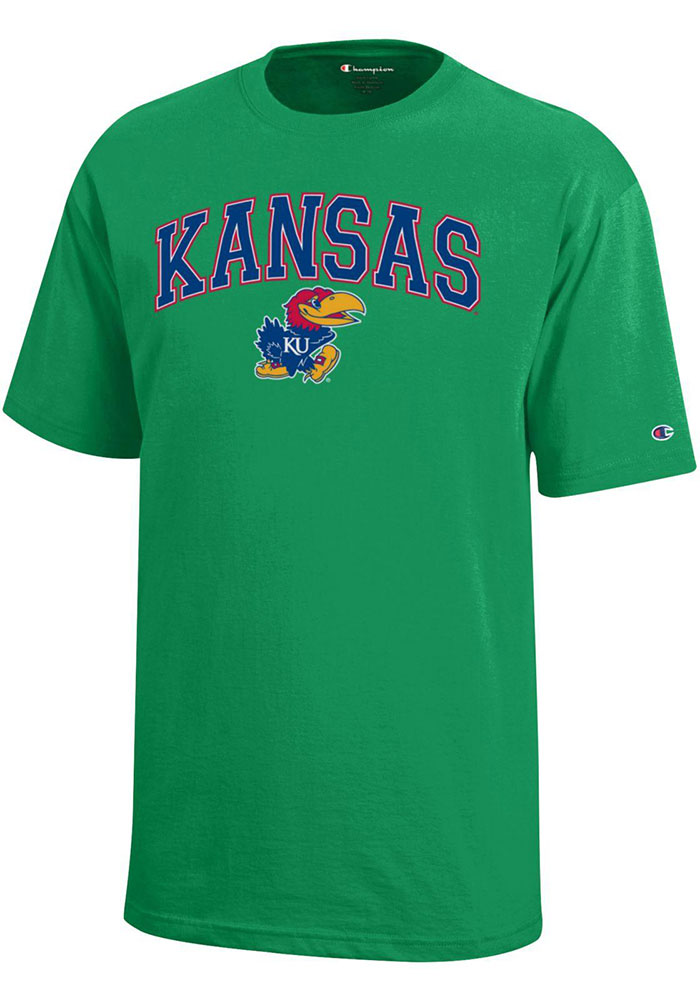 Kansas Jayhawks Youth Champion Arch Mascot T-Shirt - Kelly Green