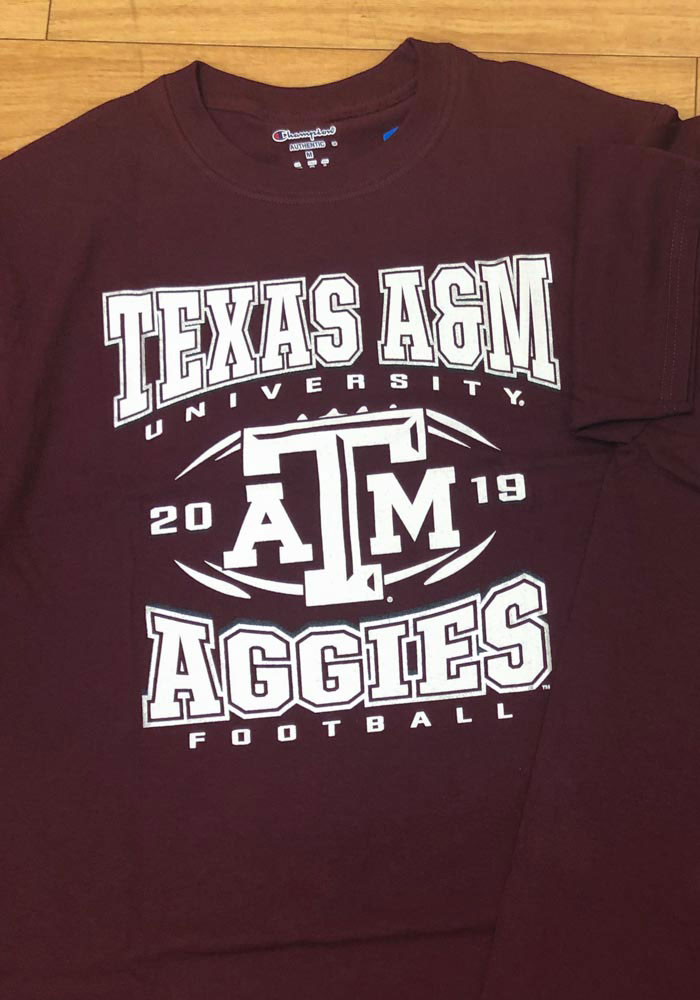 Champion Texas A&M Aggies Maroon Football Schedule Short Sleeve T Shirt - Image 3