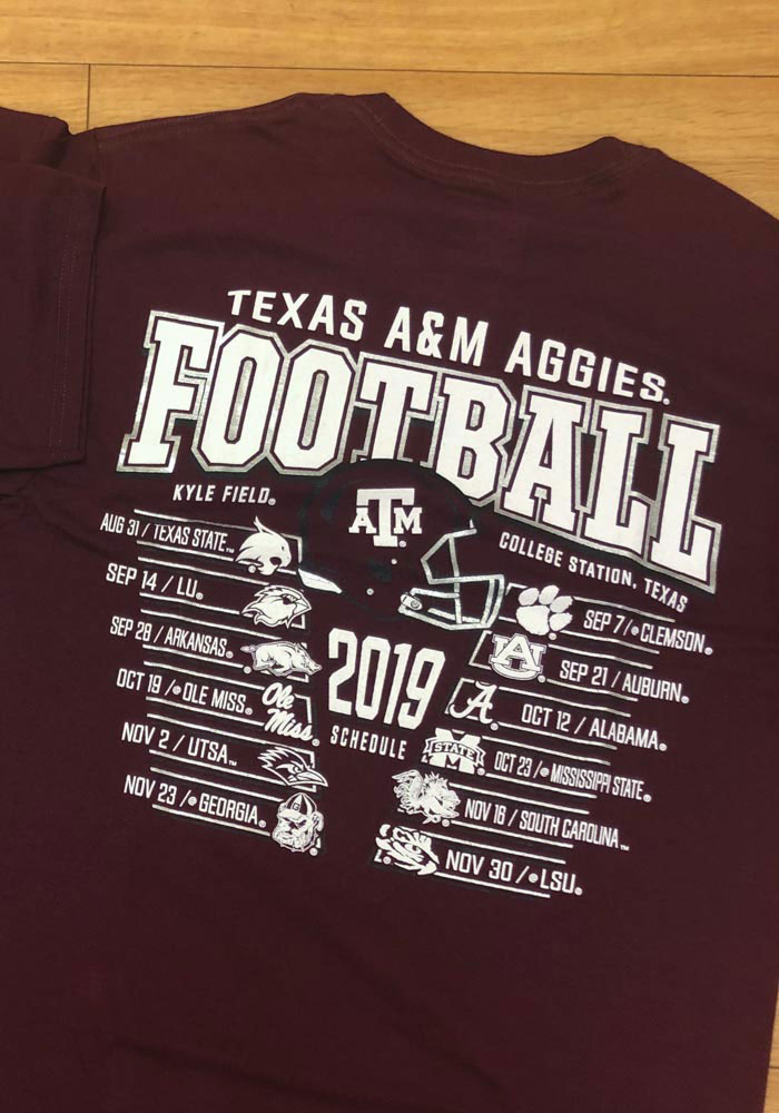 Champion Texas A&M Aggies Maroon Football Schedule Short Sleeve T Shirt - Image 4