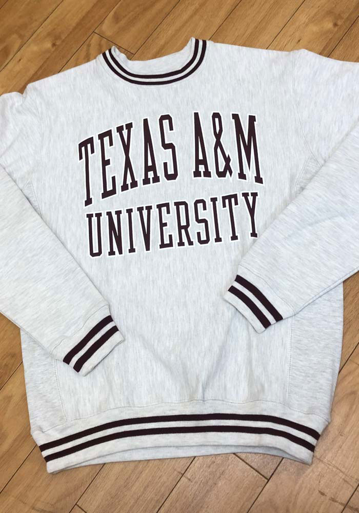 Champion Texas A&M Aggies Mens Grey Reverse Weave Arch Long Sleeve Crew Sweatshirt - Image 2