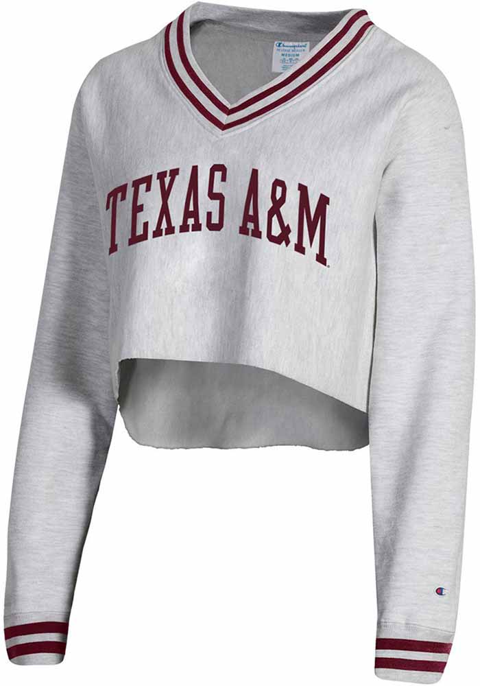 Champion Texas A&M Aggies Womens Reverse Weave Crop V Neck Grey Crew Sweatshirt