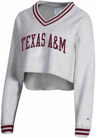 Texas A&M Aggies Womens Champion Reverse Weave Crop V-Neck Crew Sweatshirt - Grey
